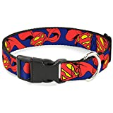 Buckle-Down Plastic Clip Collar - Superman Shield w/Cape - 1' Wide - Fits 11-17' Neck - Medium