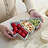 Vinclus Fruit Bowl, Christmas Tree Shape Creativity Food 3 Grids Plastic Platter, Snacks, Nut, Dried Fruit, Appetizer Storage Plate Tray, Holiday Party Home Serving Plate, Blue
