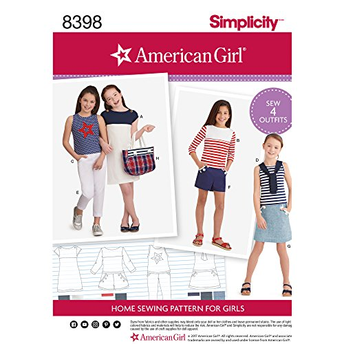 SIMPLICITY 8398 AMERICAN GIRL'S PANTS, SHORTS, SKIRT, TOTE BAG & KNIT DRESS & TOPS (SIZE 3-8) SEWING PATTERN