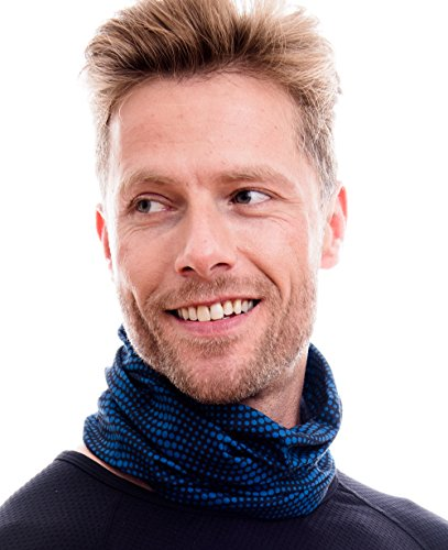 Hilltop Multifunktionstuch. Cooles und warmes Kopf- und Halstuch in modernen aktuellen Farben, Farbe/Design:schwarz - blaue Streifen