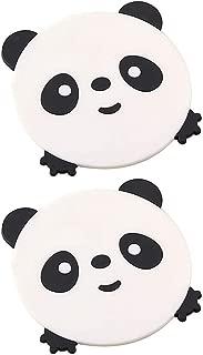 Fan-Ling 2Pcs Cute Animal Cartoon Coasters,Silicone Placemat Cushion,Mug Tableware Cup Tea Pad Mat,Environmental,Health,Insulation Performance, Non-Slip (White)