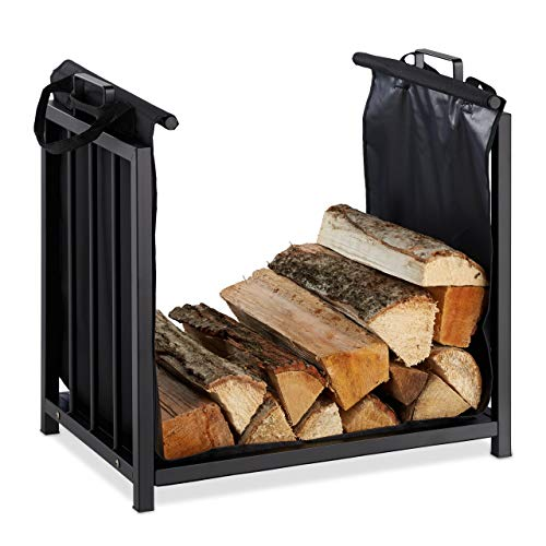 Relaxdays Kaminholzständer mit Holztragetasche, für innen, modernes Design, Kaminregal Stahl, HBT: 50x51x37 cm, schwarz