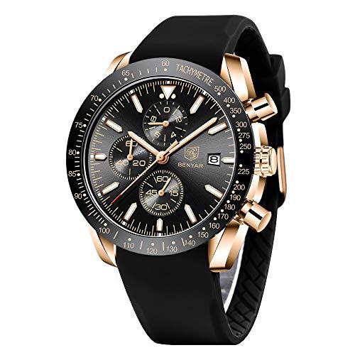 BENYAR Herren Uhr Chronograph Analogue Quartz Wasserdicht Business Schwarz Zifferblatt Armbanduhr mit Silikon Armband