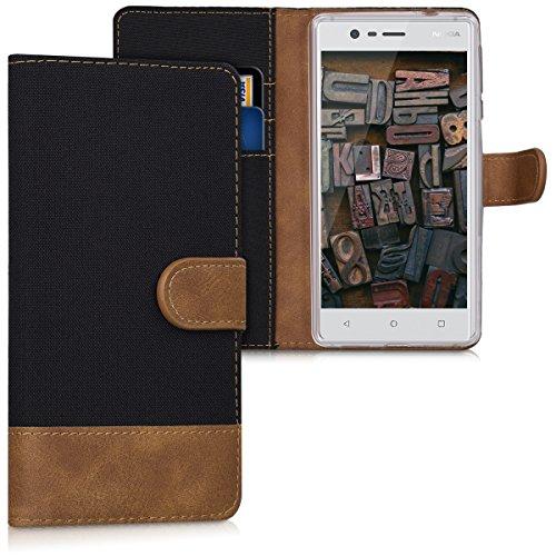 kwmobile Nokia 3 Hülle - Kunstleder Wallet Case für Nokia 3 mit Kartenfächern & Stand - Schwarz Braun