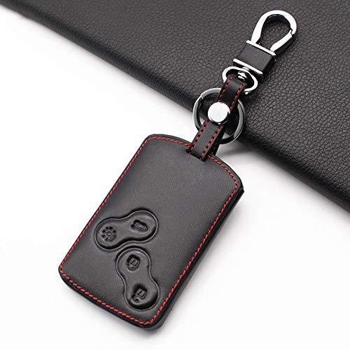 ATMASDO Funda de cuero para llave de coche con 4 botones, para Renault Clio Logan Megane 2 3 Koleos Scenic