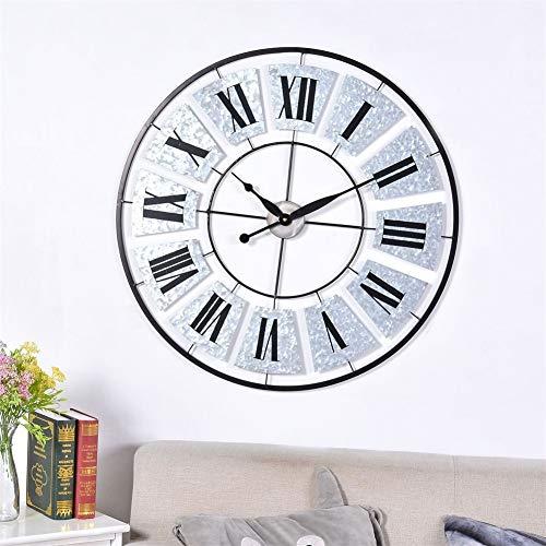 ZHAOW Horloge Murale, Métal Art De Fer Rond Chiffres Romains Pendule Murale Mode Salon Restaurant Décoration 78cm Argent Muet Élégant Wall Clock Wall Clock