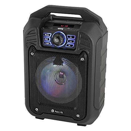 NGS Roller Tin 20W Negro - Altavoces portátiles (20 W, Inalámbrico y alámbrico, Negro, Giratorio, LED, Universal)
