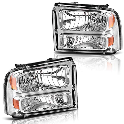 AUTOSAVER88 Compatible with 05 06 07 ford F250 F350 F450 F550 Super Duty/ 05 ford Excursion Headlight Assembly,OE Projector Headlamp,Chrome Housing Clear Lens