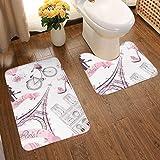 Juego de alfombras de baño de franela con diseño de abanicos artísticos y suaves, para viajes románticos en París, Torre Eiffel y Museo del Louvre, antideslizante, lavables, 2 unidades