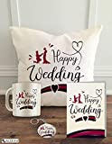 ALDIVO 12x12-inch Happy Wedding Printed Cushion Cover with Filler , Printed Coffee Mug , Marriage...