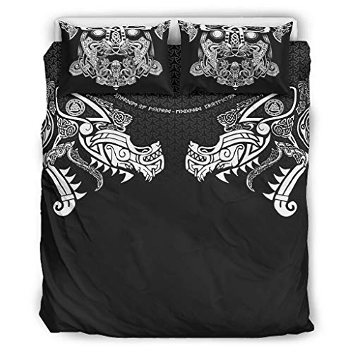 WellWellWell Viking Ragnarok Bedding Set 3 3D Print Bed Linen Colourful Duvet Cover Set with Zip Includes Single Bed 1 Duvet Cover and 2 Pillowcases White 168 x 229 cm