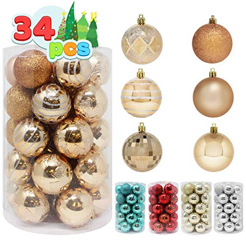 """Joiedomi 34 Pcs Christmas Ball Ornaments, Shatterproof Christmas Ornaments for Holidays, Party Decoration, Tree Ornaments, and Special Events (Champagne, 2.36"""")"""