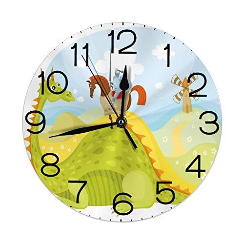 GoodLucke Reloj de Pared Decorativo, fantasía, Caballero Don Quijote con Caballo en el Valle del dragón Imagen Medieval de Cuento de Hadas, Fruta Verde Cielo Azul
