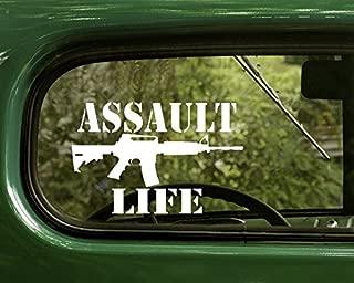 2 Assault Life Decal AR15 Rifle Gun Stickers White Die Cut For Window Car Jeep 4x4 Truck Laptop Bumper Rv