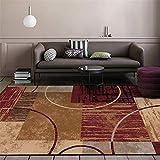 WQ-BBB Rénovation Domiciliaire Design Minimaliste Carpettes Décoration géométrique rétro nostalgique Tapis Enfant Gris Rouge Brun Noir résistant à la moisissure Grand Tapis 60X90cm