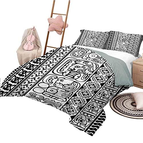 Tagesdecke Bettdecke Set in voller Größe Tribal Lightweight All Season Tagesdecke Aztec Mayan Folk Abstract