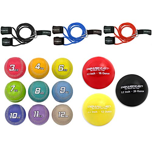 PowerNet Arm Care Bundle | Baseball Softball Strength and Conditioning PowerBands + Plyo Balls + Weighted Baseballs | Rehab Throwing Injuries | Build Arm Strength (All-in-One Bundle)