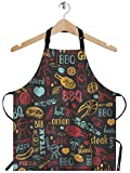 WONDERTIFY Bbq Barbecue Grill Sketch Apron,Colorful Cafe Menu Design Yellow Red Blue Black Bib Apron with Adjustable Neck for Men Women,Suitable for Home Kitchen Cooking Waitress Chef Grill Apron