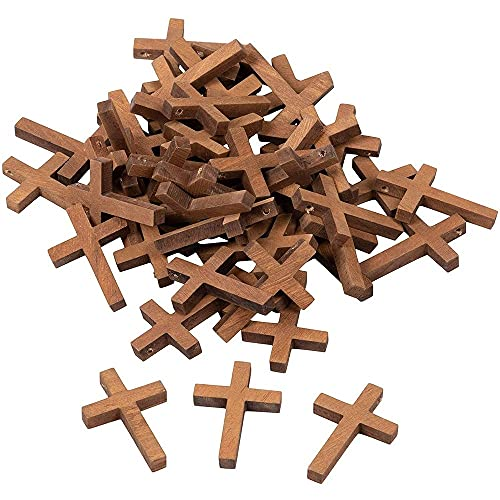 50-Pack Wood Cross Pendants - 1.2 x 1.75-Inch Mini Crosses, Cross Charms for Religious Party Favors, Sunday School DIY Craft
