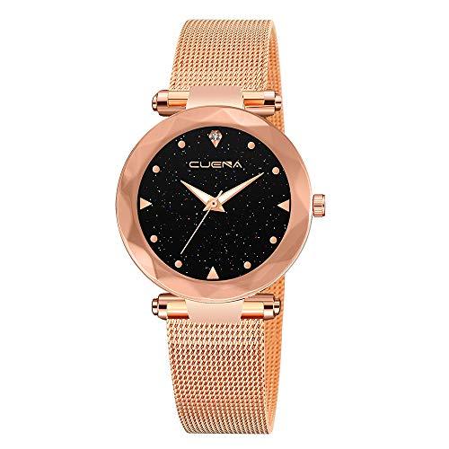Lazzgirl CUENA Klassische heiße Luxusfrauen-Edelstahl-analoge Quarz-analoge Armbanduhr(Farbe,One Size)