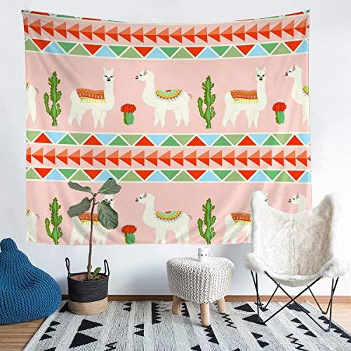 Tapiz de llama, para colgar en la pared, diseño de llama, alpaca, para niños, niñas, animales sudamericanos, triángulos, arte de pared para dormitorio, sala de estar, tamaño mediano 137 x 132 cm