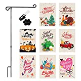 Seasonal Garden Flags with Stand Pole & Flag Stopper & Anti-Wind Clip, 8 Pack Assortment of 12'' x 18'' Holiday Yard Flags, Double Sided Halloween Decorative Outdoor Flags for All Seasons and Holidays