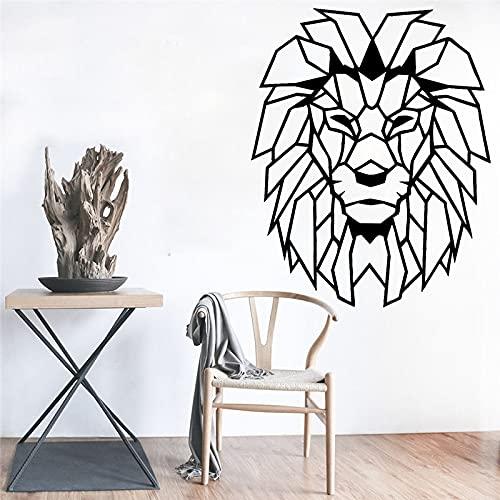 Adhesivo decorativo para pared, diseño de cabeza de león con objetos geométricos, decoración del hogar, vinilo, decoración de habitación de niños, 59 x 48 cm