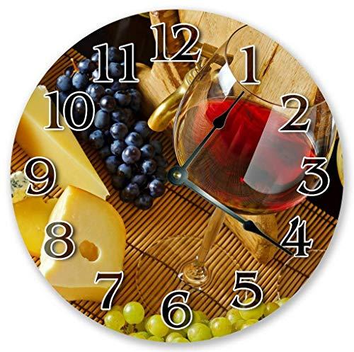 prz0vprz0v - Reloj clásico de madera, sin tachuelas, 12 pulgadas, vino tinto en cristal y uvas sobre la mesa, reloj de pared, de madera, decorativo, redondo, reloj de pared
