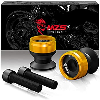 MZS 6MM Swingarm Spools Sliders Stand CNC Universal M6 Gold Compatible with YZF R1 R3 R6 R6S YZF600R FZ1 FZ6 FZ6R FZ8 FJ09 FZ09 FZ10 MT09 MT10 XSR900 FJR1300 XTZ1200 RSV4 821 899 959