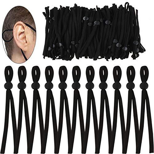 Pwsap 100Stück Gummiband 5 mm Breite Geflochtene Elastische, Länge 28 cm, Schnur Elastikkordel für Nähen und Handwerk, Gummilitze Hochwertige mit Kordelstopper aus Silikon für Masken(Schwarz)