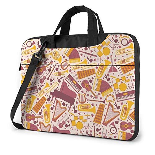 15.6 inch Laptop Tasche Schultertasche Bussiness Messenger Tablet Tasche Laptophülle Musikalisches Klavier Harfen Schlagzeug Gitarren Akkordeon
