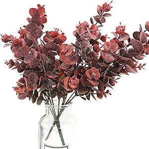 tinsow real touch leaf artificial eucalyptus branches stems faux eucalyptuses bouquet centerpiece halloween home decor (maroon, 2) silk flower arrangements