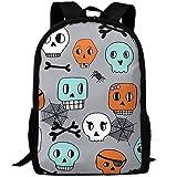 TTmom Schulrucksack,Schüler Bag,Rucksack Damen Herren Stylish Skulls Halloween Orange Mint Grey...