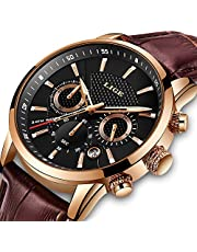 メンズ腕時計 うで時計 LIGE レザー 多機能 防水ウォッチ クロノグラフ日付表示 ビジネス ファッション スポーツ 時計 アナログ クオーツ うで時計 男性用腕時計