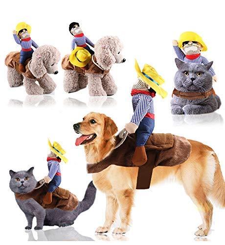 1 x Halloween-Haustierkostüme Hundekostüme Halloween Cowboy Hundekleidung Haustier Reiten Transfiguration von Cowboy Rider Stil für Halloween Dekorationen, Hunde-Outfits (XL)