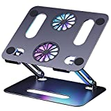 Soporte para ordenador portátil con ventilador, de aluminio, ajustable, para portátil, para ordenadores de 10 a 15 pulgadas