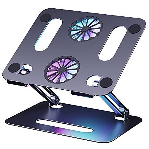 """GAOSUR Laptop Ständer, Laptop Cooling Stand mit Lüfter, Aluminium Notebook Ständer Laptop Halterung Höhenverstellbarer Computer Laptop kühler Riser Kompatibel für 10\""""~15 Zoll Notebooks, Tablet"""