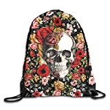 Lawenp Plegable In Bloom Floral Skull Drawstring Bag, Sports Cinch Sacks String Drawstring Backpack for Picnic Gym Sport Beach Yoga