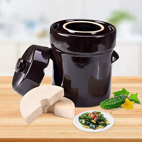 Seeutek Fermentation Crock, Glazed Ceramics Fermenter w/ Weights & Lid