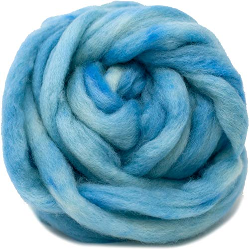 Wool Roving Hand Dyed. Super Soft BFL Combed Top Pre-Drafted for Easy Hand Spinning. Artisanal Craft Fiber ideal for Felting, Weaving, Wall Hangings and Embellishments. 1 Ounce. Baby Blue