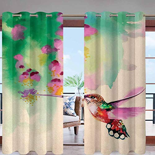 Dasnh Outdoor Curtain Panel Thermal Insulated with Grommet Top Art with Colibri Bird W96 x L108 for Canopy/Pergola/Yard Privacy