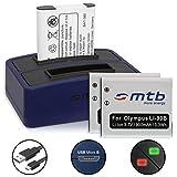 3 Batterie + Caricabatteria doppio (USB) per Olympus LI-92B, Li-90B - Olympus Tough TG-2, TG-3, TG-4, TG-5 - Actioncam TG Tracker - SH-… v. lista - (Cavo USB micro incluso)