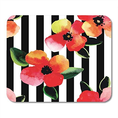 Maus Matte Pad, Strand Blumen Helle Aquarell Blumen und Blätter Muster Schwarz-Weiß Gestreifte Geometrische Bikini Elegante Mousepad Für Büro Täglich,18x22cm
