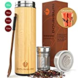 DOUNGURI Bamboo Tea Tumbler Mug with Strainer Infuser - 18 oz Vacuum Insulated Stainless Steel...