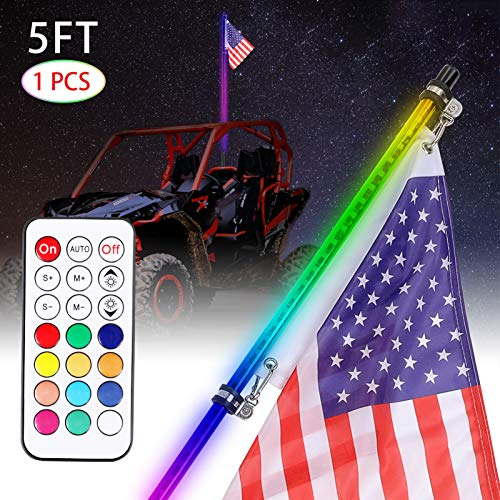 JP-Technology 1pcs 5ft Led Whip Lights with Flag Pole Smoked Black RGB Chasing Dancing Lighted Whips Remote Control Antenna Led Whip for Utv ATV RZR Polaris Off Road Truck Buggy Dune Sand Can-am Boat