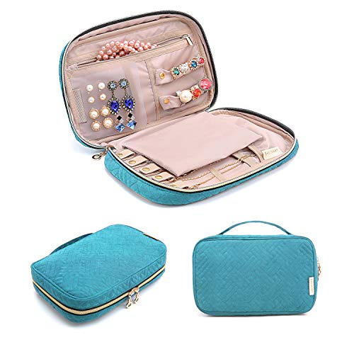 BAGSMART Jewelry Organizer Bag Travel Jewelry Storage Cases for Necklace, Earrings, Rings, Bracelet, Lake Blue