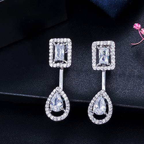 Pendientes colgantes cuadrados y gota de agua de circonita cúbica de color oro rosa para damas accesorios de joyeríaplata