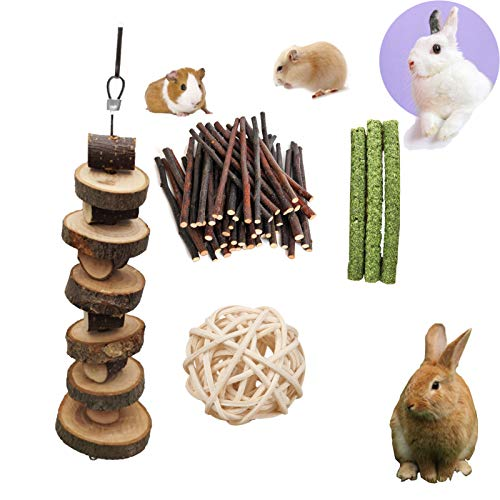 PD Small Animal Chew Toys, Bunny Molar Toy for Teeth Natural Apple Wood Chips, Animal Snacks Chew Toys for Rabbits Chinchilla Hamsters Guinea Pigs Gerbils Groundhog Squirrels (3 pcs)
