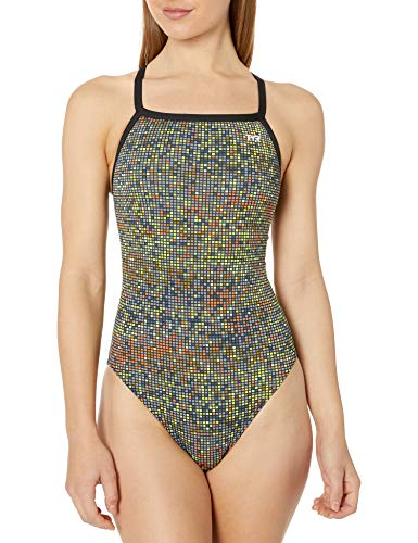 TYR Atomic Female Training Diamondfit Durafast One Training Swimsuit - Black/Multi-Coloured, 34