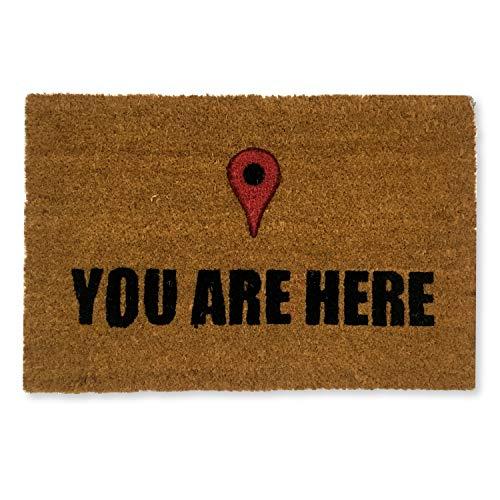 koko doormats felpudos Entrada casa Originales, Fibra de Coco y PVC, Felpudo Exterior You Are Here, 40x60x1.5 cm | Alfombra Entrada casa Exterior | Felpudos Divertidos para Puerta